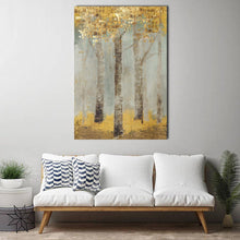 Gold Foil Tree Framed Canvas Green Abstract Tree of Life Wall art Stretched