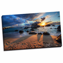 Framed canvas prints seascape time-lapse wall art sunset beach rock shadow life