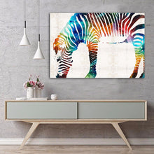 Framed canvas print prints colourful colorful zebra home art modern decoration
