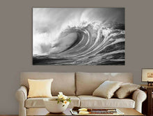 Black & White Sea Wave Framed Canvas Print Wall Art Blue waves prints photo