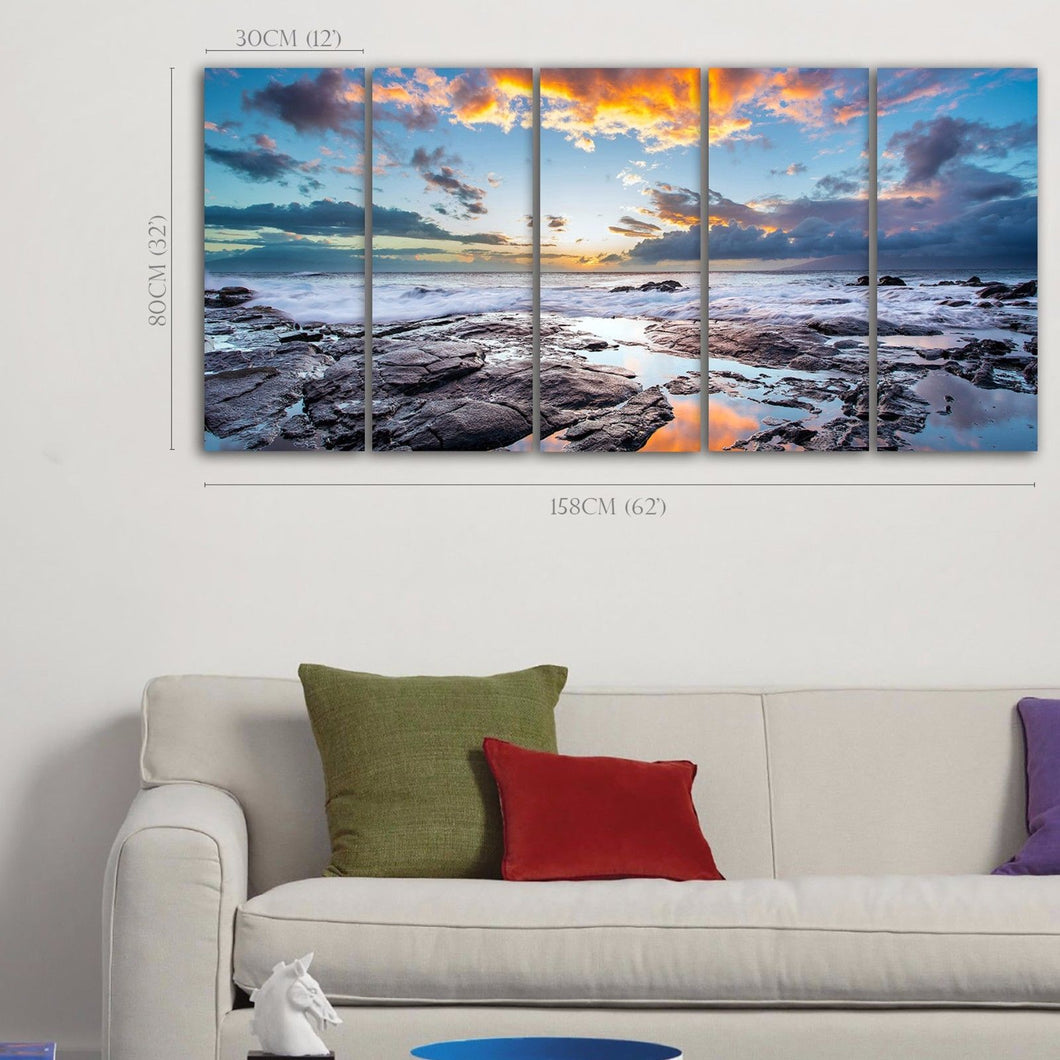 Framed seascape time-lapse canvas Sunset beach ocean rock view wall sea art