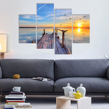 Framed stretched canvas prints seascape print Bridge beach modern art wall ocean