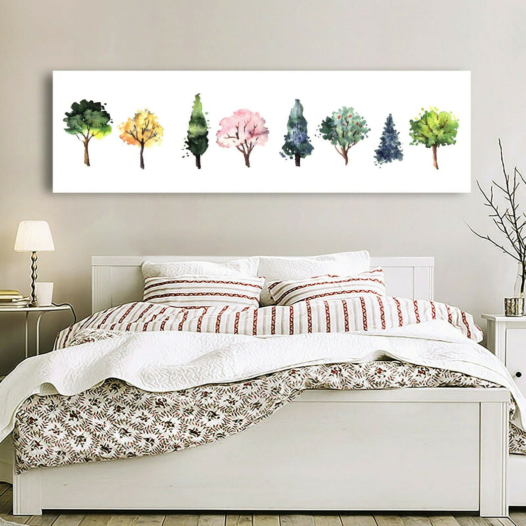 Colorful Trees Stretched Canvas Prints Framed Wall Art Home Decor Watercolor