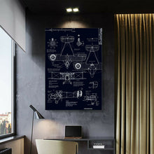Industrial Aircraft Drawings Framed Canvas Print Abstract Living Room Wall Plane