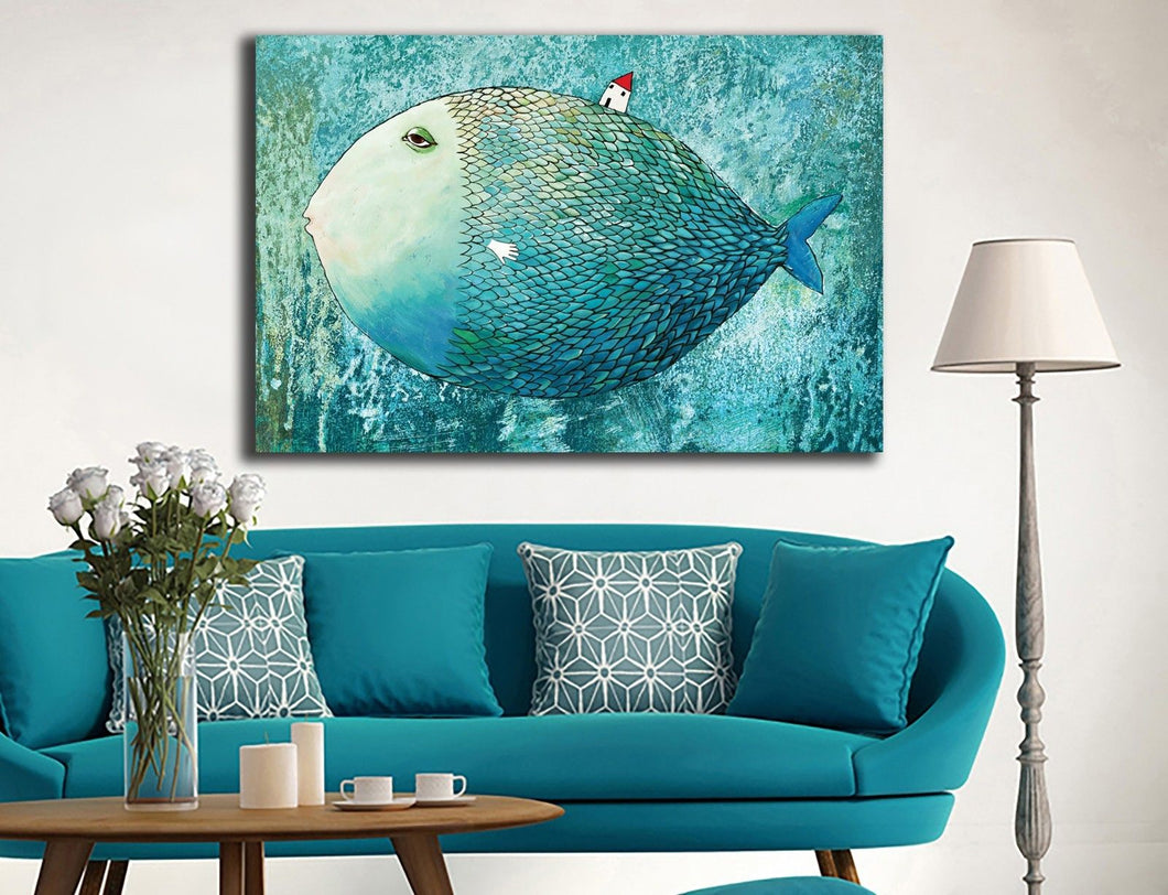 Framed Canvas Prints Stretched Big Whale Small House Wall Art Kids Home Decor