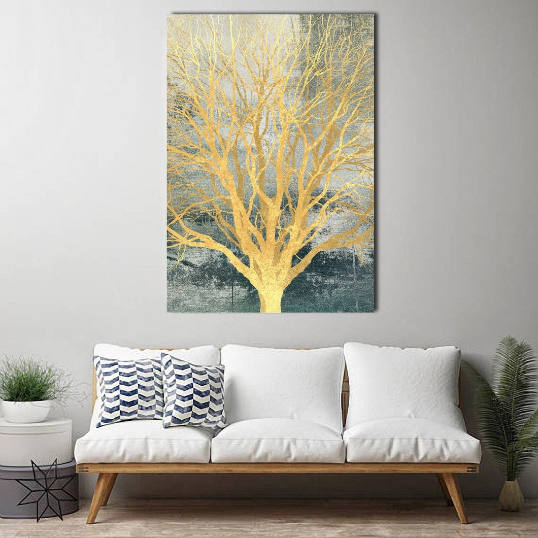 Gold Foil Tree Framed Canvas Green Abstract Tree of Life Wall art