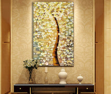 Flower Tree Framed Canvas Yellow Abstract Tree of Life Wall art