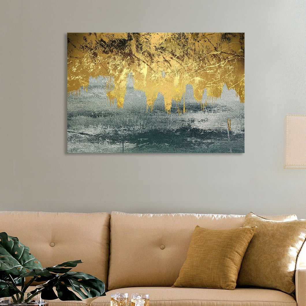 Blue Gold Foil Stretched Printed Framed Canvas Liquid abstract print wallart