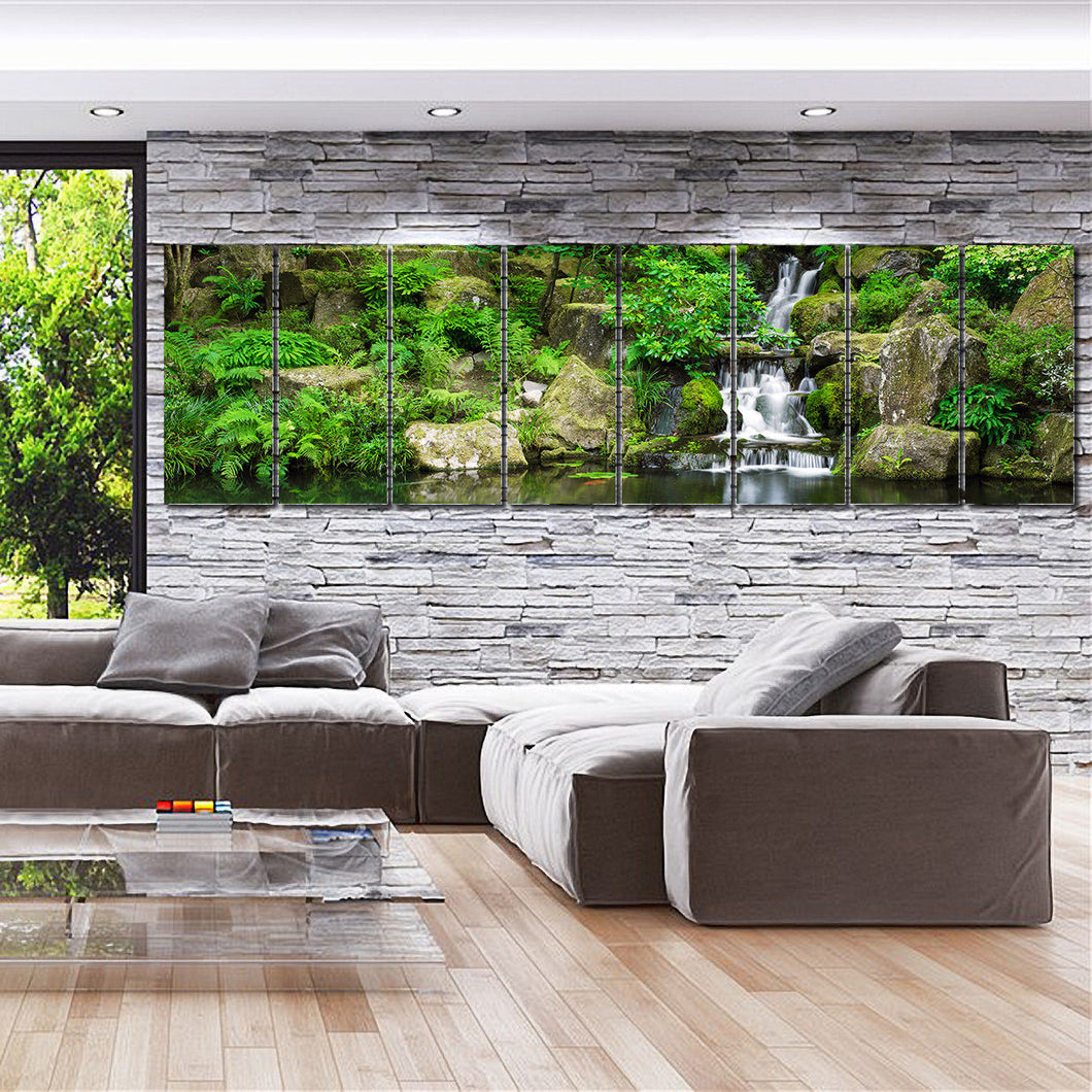 Framed Stretch split canvas prints landscape forest waterfall landscaping summer