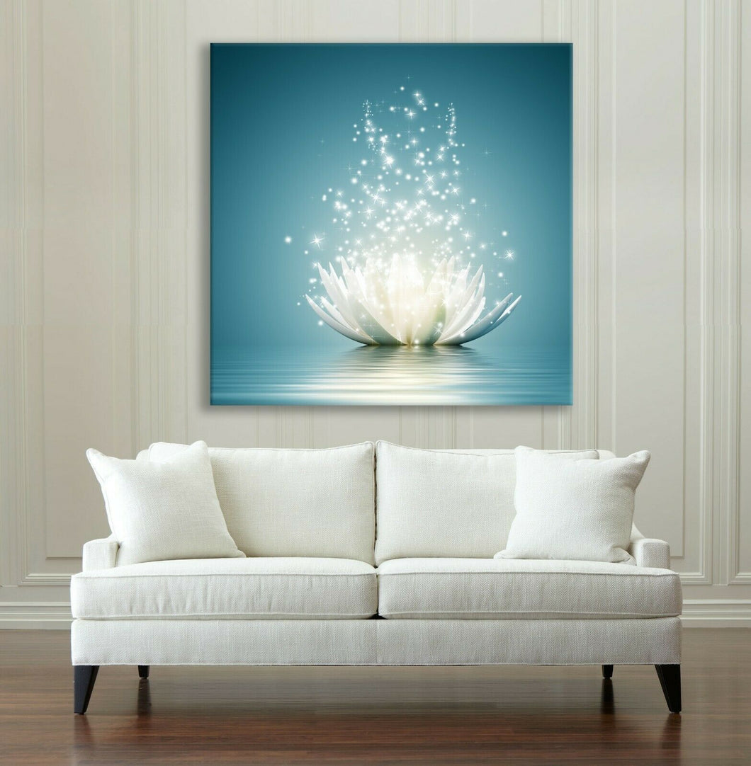 Framed Canvas Printing Abstract Lotus on Water Sparkling Drops Zen Art