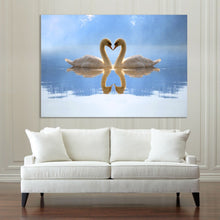Love Heart SWANS Stretched Pictures Canvas water reflection home art wall deco