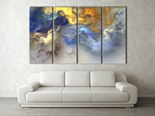 Abstract Blue Gold Cloud Split Framed Canvas Large Size Printing Wall Art
