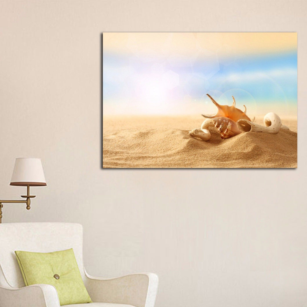 Stretched Canvas prints seascape print Sunlight glares Beach sands shell shells