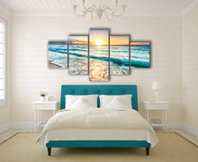 Framed canvas prints seascape yellow Beach Wave view diamond split sun down art