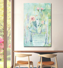 Cactus flower watercolor Framed canvas Stretched Printed abstract print wallart