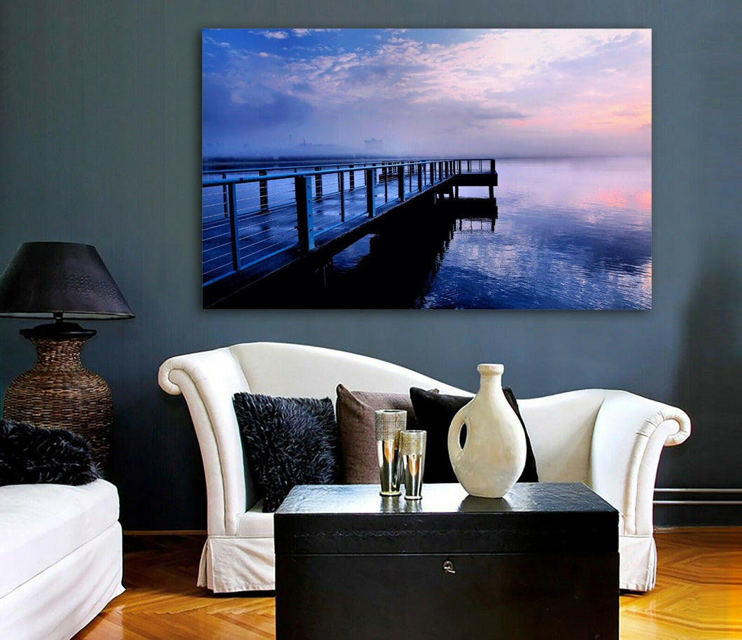 Time lapse Framed Canvas prints Purple bridge sunset beach modern wall art