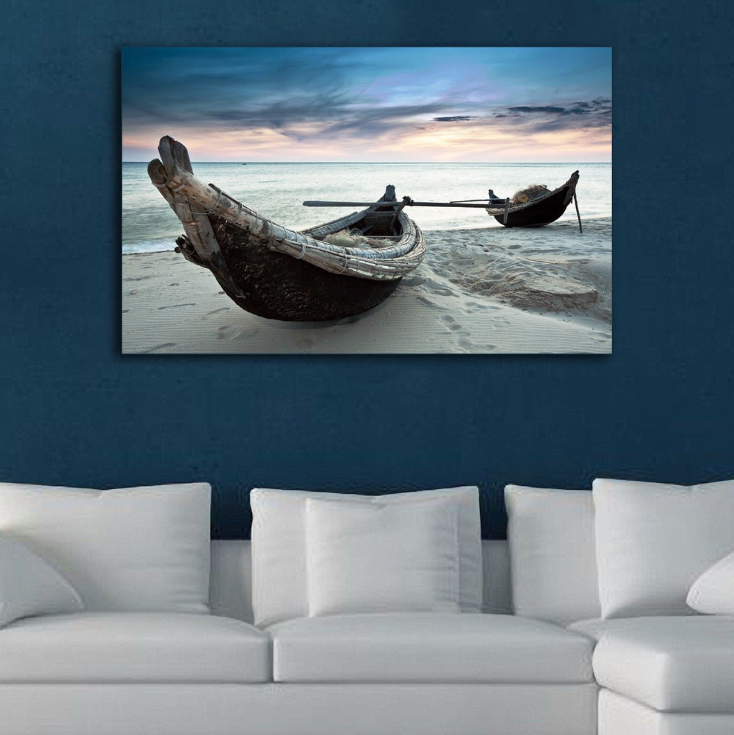 Stretched Framed canvas prints print seascape cloudy boat time-lapse wall art