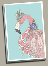 Flamingo with Crown Hat Flower Framed Canvas Print Abstract Wall Art Watercolor