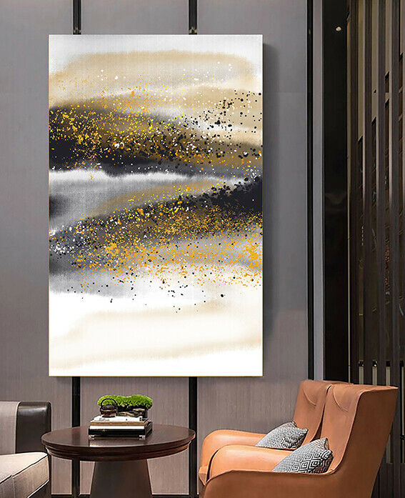 Abstract Gold Black Framed Canvas Wall Art Print Ready to Hang Wall Prints