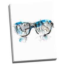 Modern city art sun glasses abstract sketch colored canvas framed dinning room