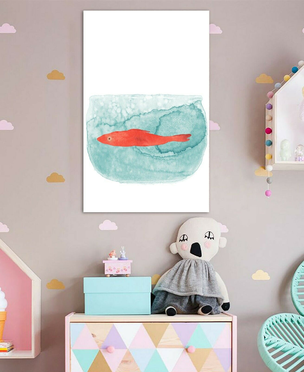 Fish tank Abstract Watercolor Framed Canvas Wall Art Print Wall Prints Kids room