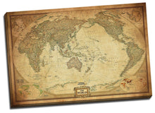Vintage World Map Stretched Framed Canvas Detailed Australia Waterproof Map wall