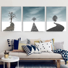 Framed Canvas Road to Dream Snow Single Tree Winter Home Decor Art