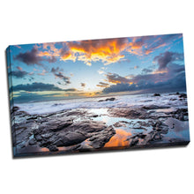 Stretched seascape time-lapse canvas Sunset beach ocean rock view wall art