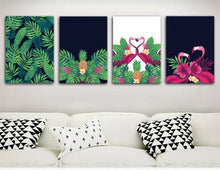 Tropical plant Flamingos Framed Canvas Prints Modern Wall Art Home Watercolour