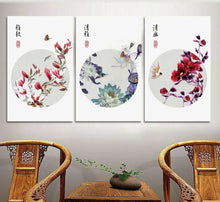 Neo-Chinese Style Framed Canvas Prints Birds Flowers Butterfly Art Home Decor