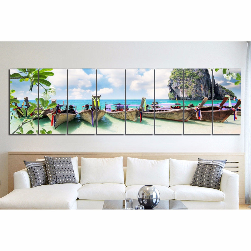 Framed Split canvas prints landscape beach colorful boat Thailand Riley wall art