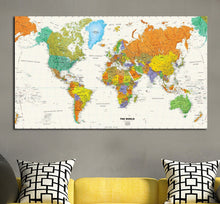 Vintage World Map Stretched Framed Canvas Prints Wall Art Home Office Decor