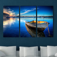Stretched Framed canvas prints Split printing seascape blue boat time-lapse art
