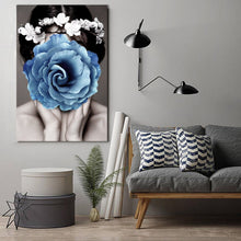 Blue Flower Face Framed Canvas Wall Art Print Abstract Wall Prints