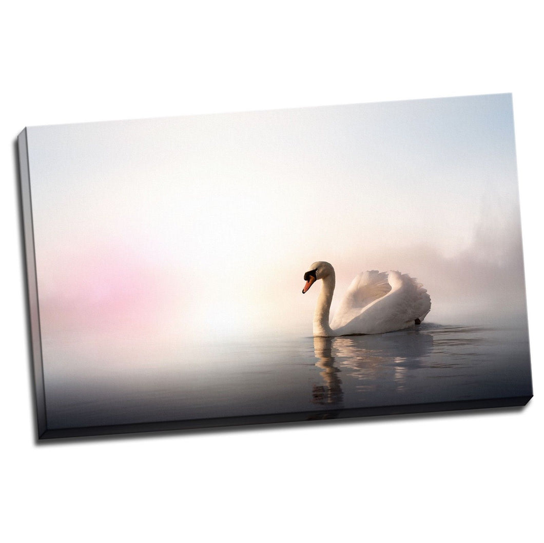 Pink Sky Swan Canvas Stretched Pictures water reflection home art wall deco