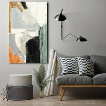 Abstract Orange Grey Framed Canvas Wall Art Print Ready to Hang Watercolor paint