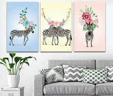 Flower Zebra Abstract Framed Canvas Modern Wall art Baby Zebras