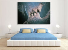 Abstract Blue Love Kiss Canvas Framed Modern Art Ready to Hang Wall Prints