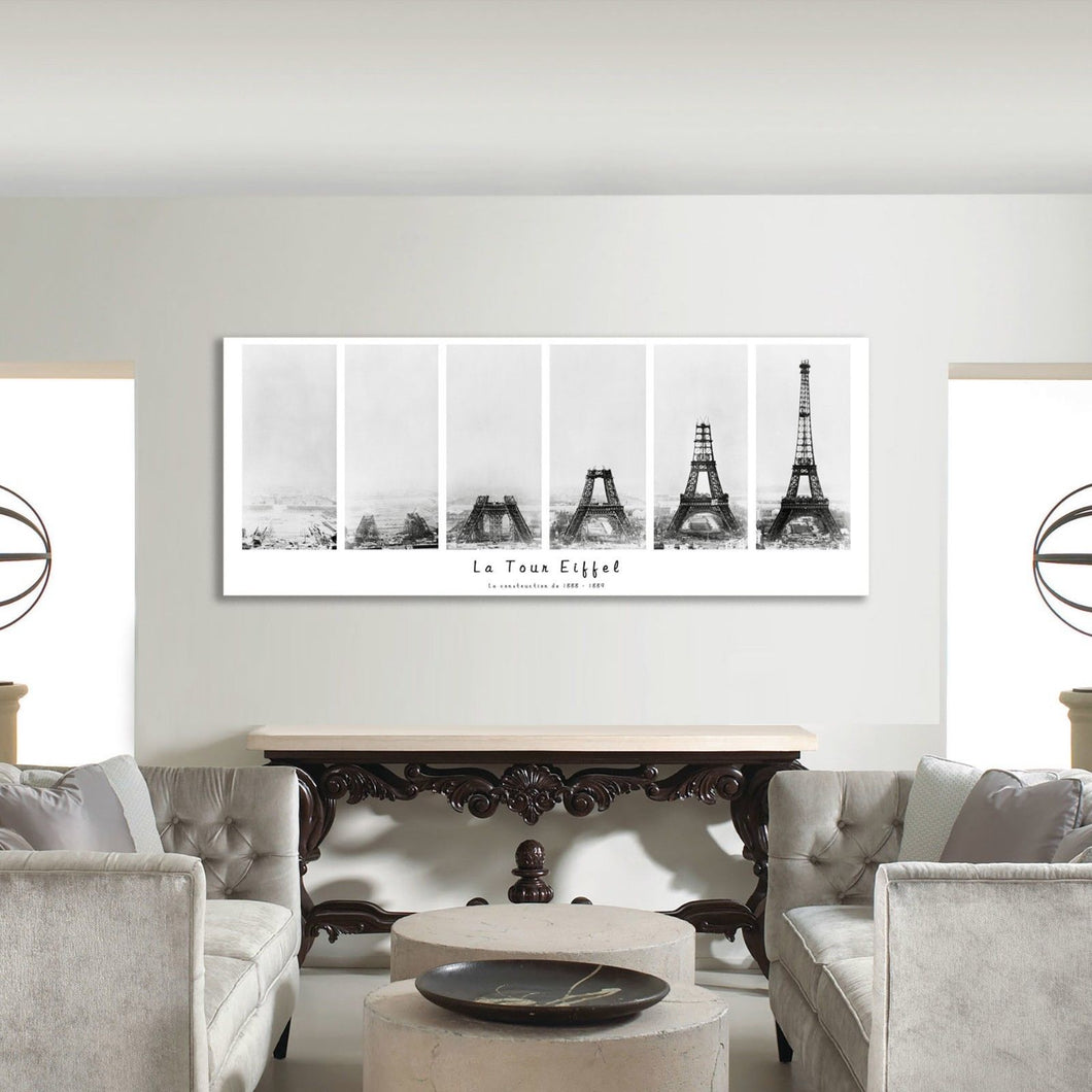 Building Process Eiffel tower construction Framed Canvas Wall art picture photo