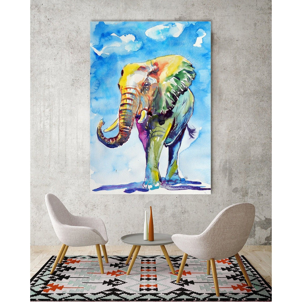 Colorful Rainbow Elephant Stretched Canvas Prints Wall Art Decor Framed Painting