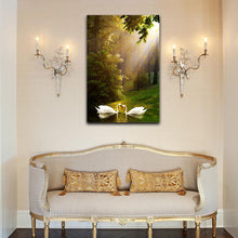 Forest Lake SWANS Stretched Pictures Canvas water reflection home art wall deco
