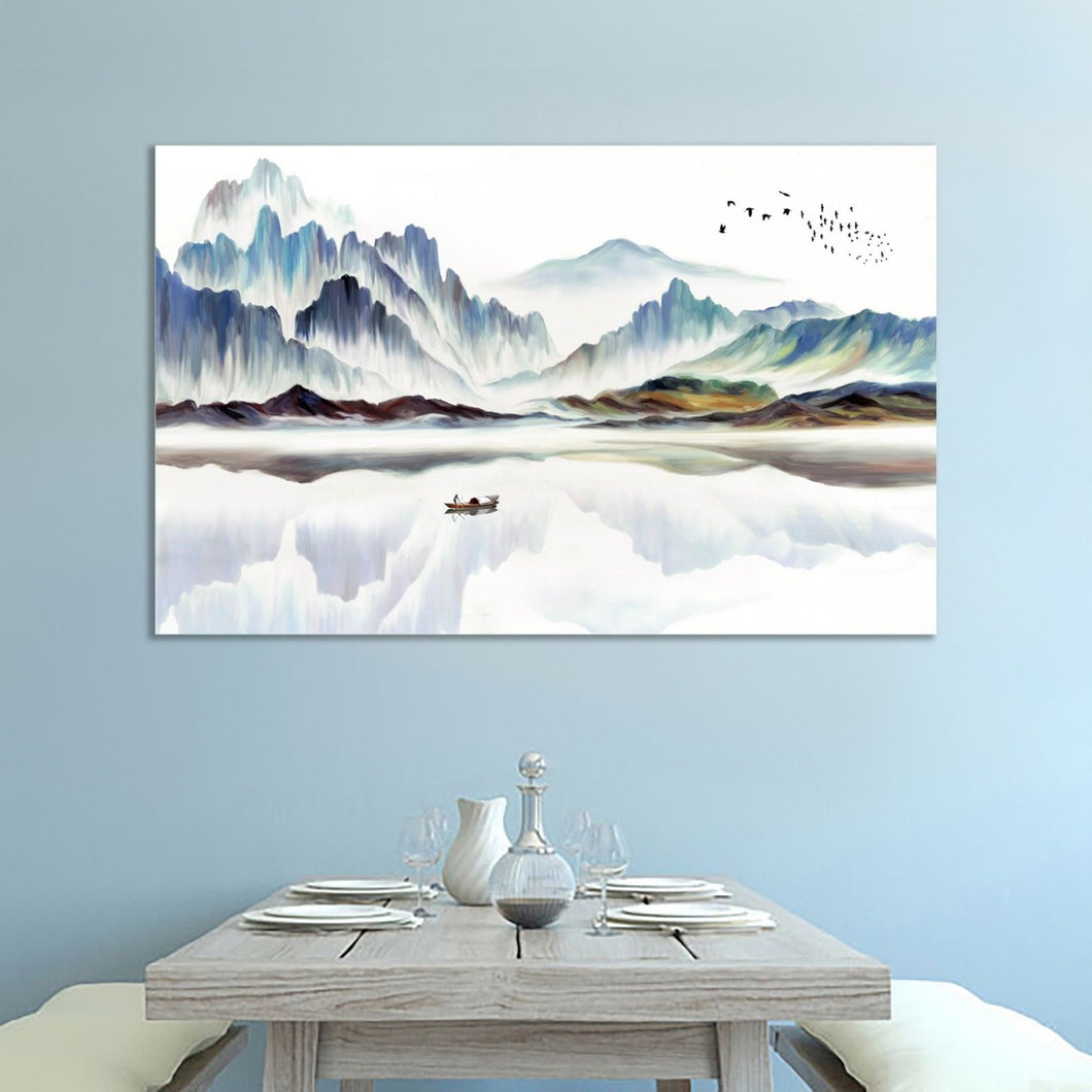 Oriental Chinese Asian Abstract Mountain River Canvas Wall