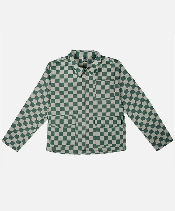 GREEN CHECKED JACKET - La Fam Amsterdam