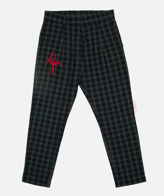 GREEN CHECKERED PANTS - La Fam Amsterdam