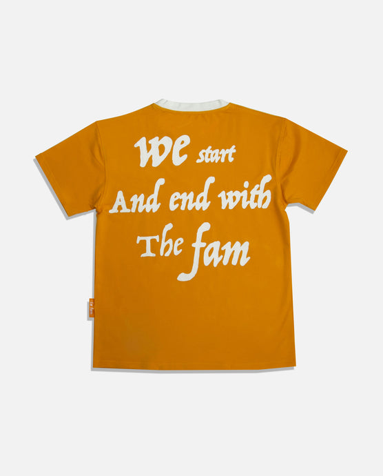 'WE START AND END WITH THE FAM' ORANGE - La Fam Amsterdam-streatwear-fashion-amsterdam based-amsterdam streatwear-kledingmerk-amsterdams kledingmerk