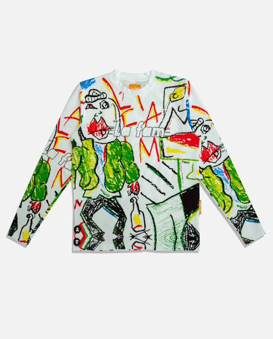 ALL OVER PRINTED CRAYON LONG SLEEVE - La Fam Amsterdam-streatwear-fashion-amsterdam based-amsterdam streatwear-kledingmerk-amsterdams kledingmerk