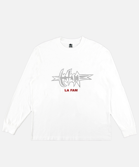 WHITE BARBED WIRE TEE - La Fam Amsterdam
