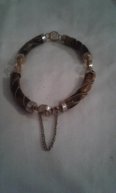 Vtg. Tiger Eye and Gold/Brass Link Asian Good Luck Bracelet -  7