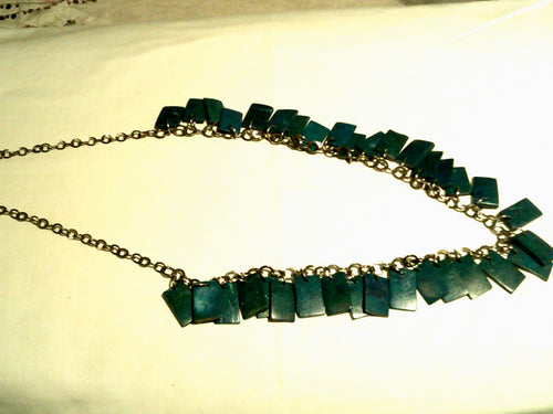 17' Green Wooden Fringe & Silver Tone Chain Necklace - New!