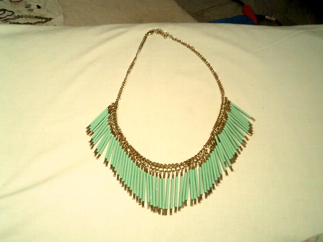 12' Turquoise Fringe & Silver Tone Chain Necklace - New!